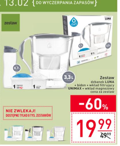 Dzbanek Luna + bidon + wkład filtrujący Unimax + wkład magnezowy za 19,99 w Carrefourze