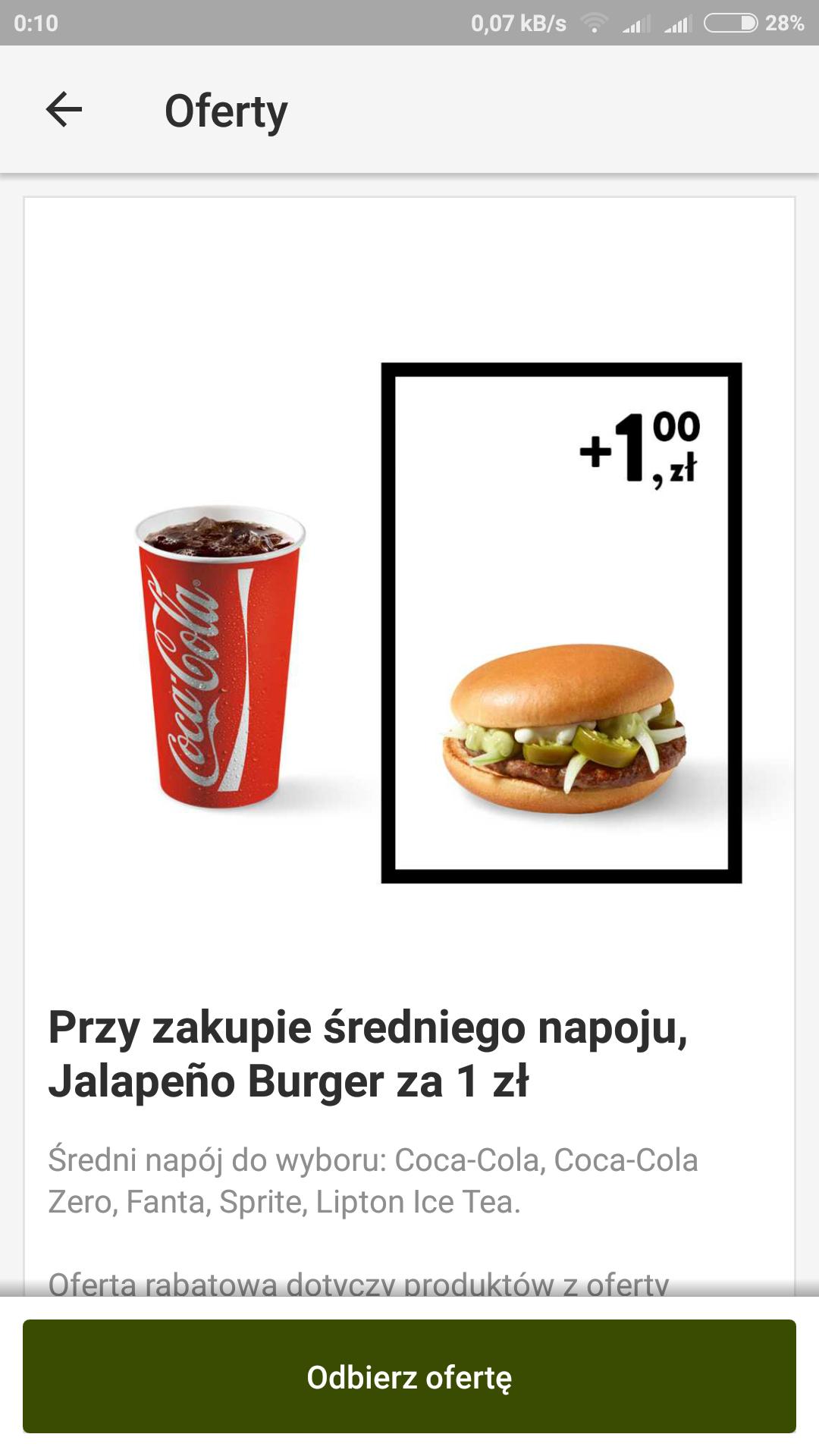McDonald's przy zakupie średniego napoju jalapeno burger za 1 zl