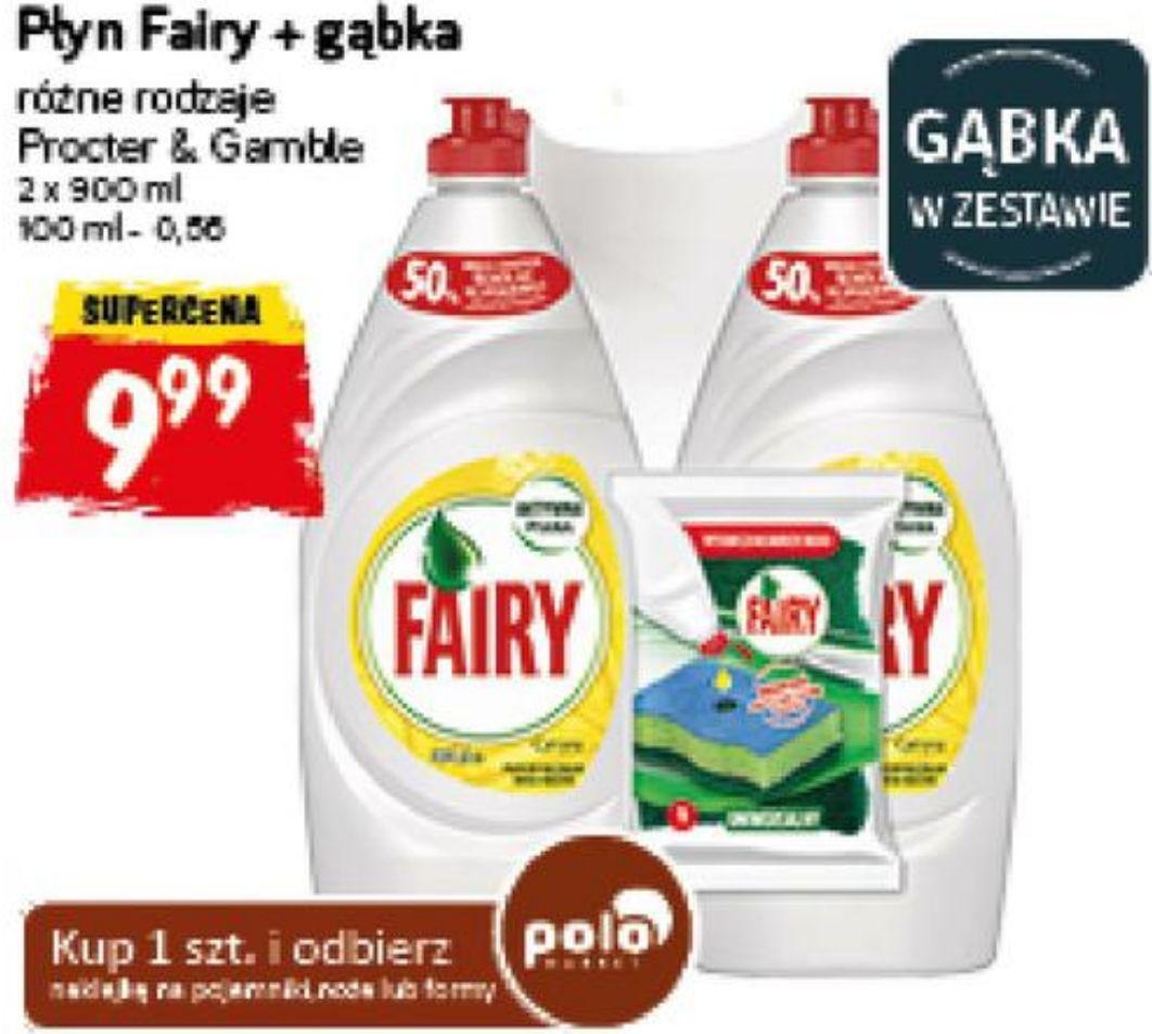 Fairy płyn do mycia naczyń 2x 900ml + gąbka (1L = 5,55zł) @ POLOmarket