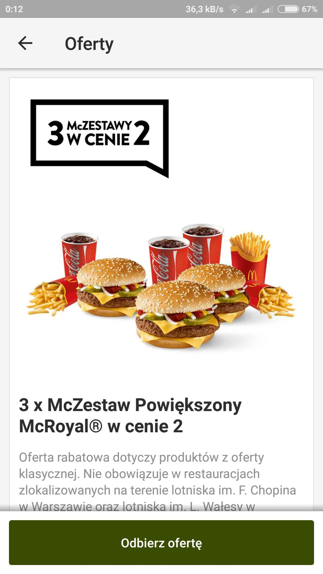 McDonald's 3x mc zestaw powiekszony mc royal w cenie 2