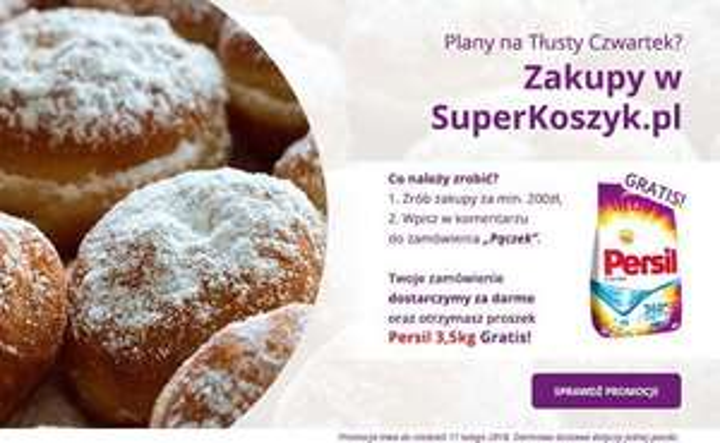 Super koszyk - darmowa dostawa i Persil 3,5 kg gratis przy zamówieniu za in. 200 zł.