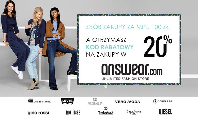 Kup kosmetyki za min. 100zł - otrzymasz 20% rabatu na answear.com