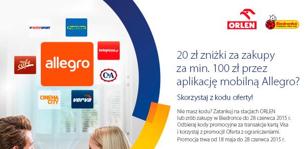 Allegro znów rzuca rabat 20 zł przy 100 zł wydanych przez aplikację mobilną!
