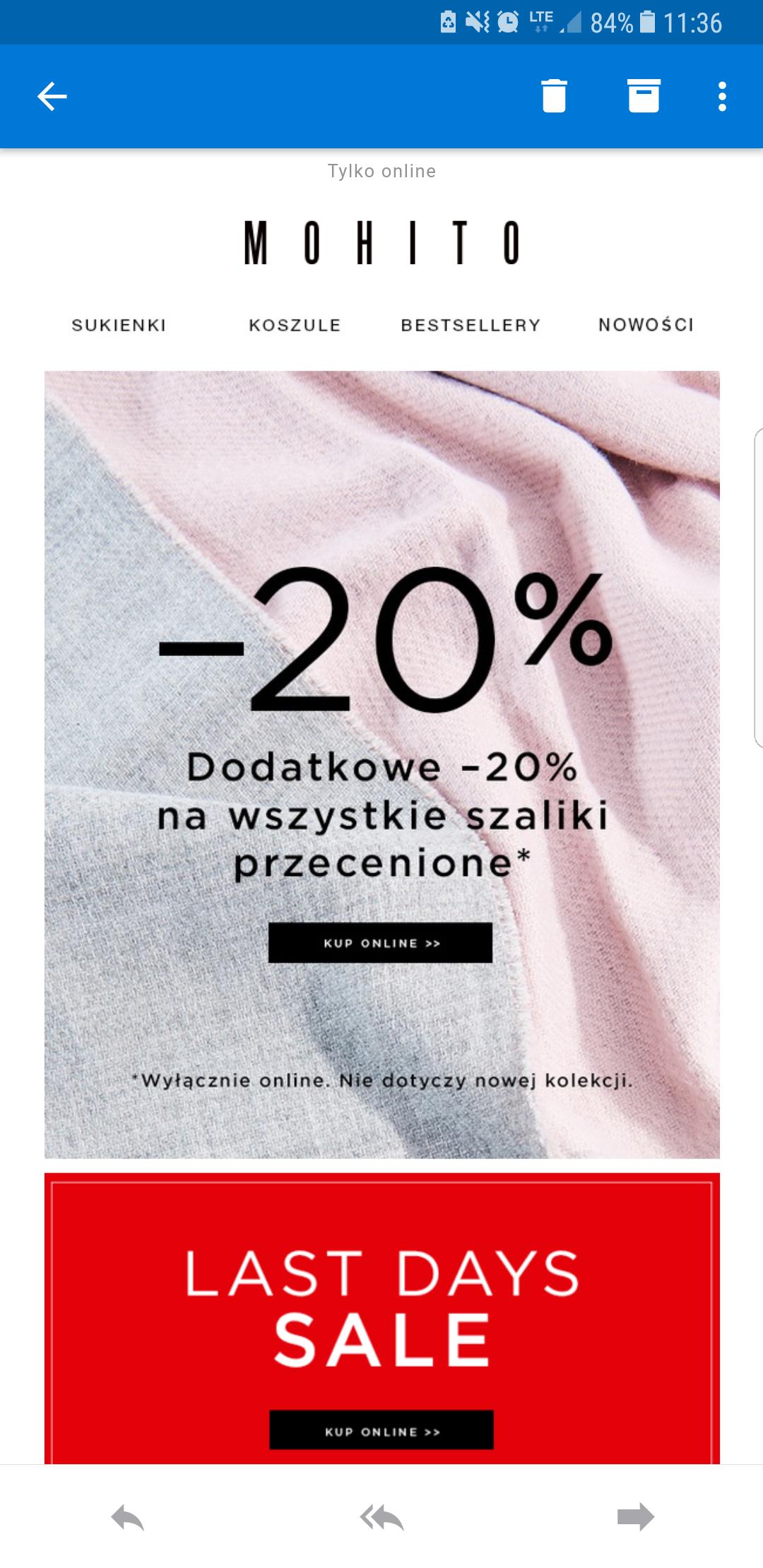 Dodatkowe 20% na przecenione szaliki- Mohito Online