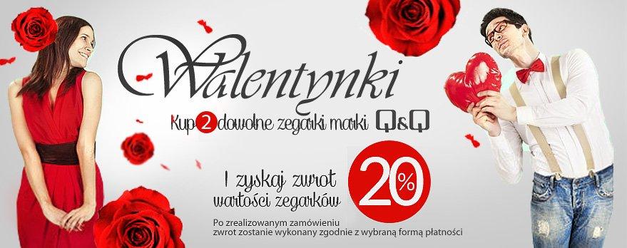 Zegarki QQ 20% taniej - promocja na Walentynki!