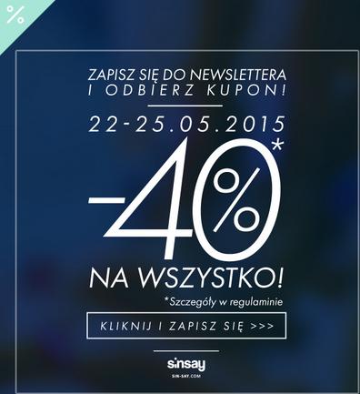 Rabat 40% na cały asortyment  @ SinSay