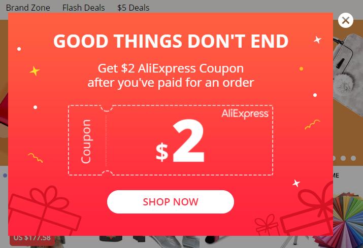 Kupon 2 USD do Aliexpress przy następnym zamówieniu (MWZ 30 USD)