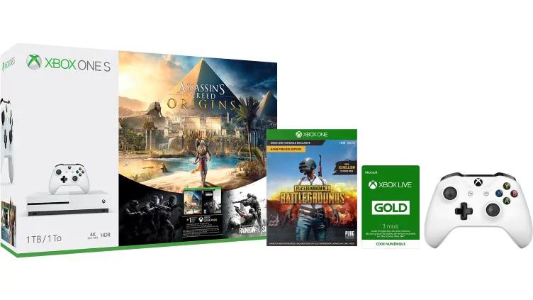 $286.20 Xbox One S 1TB Bundle (do wyboru) + PUBG + Dodatkowy Pad + Xbox Live Gold 3 mies, Francuski MS Store