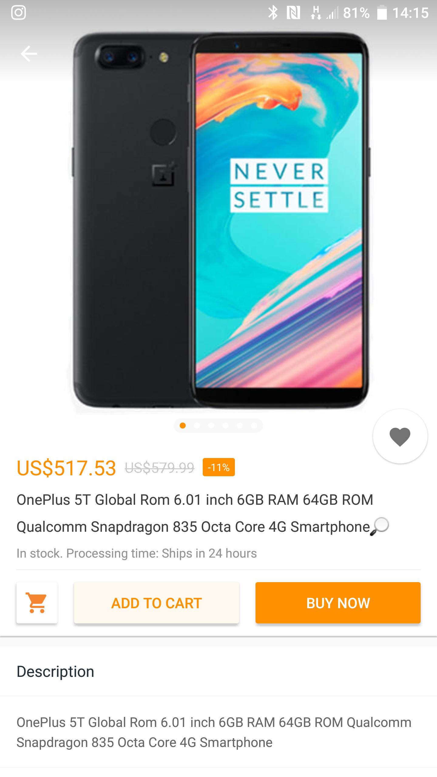 OnePlus 5t 6/64 za ~460$