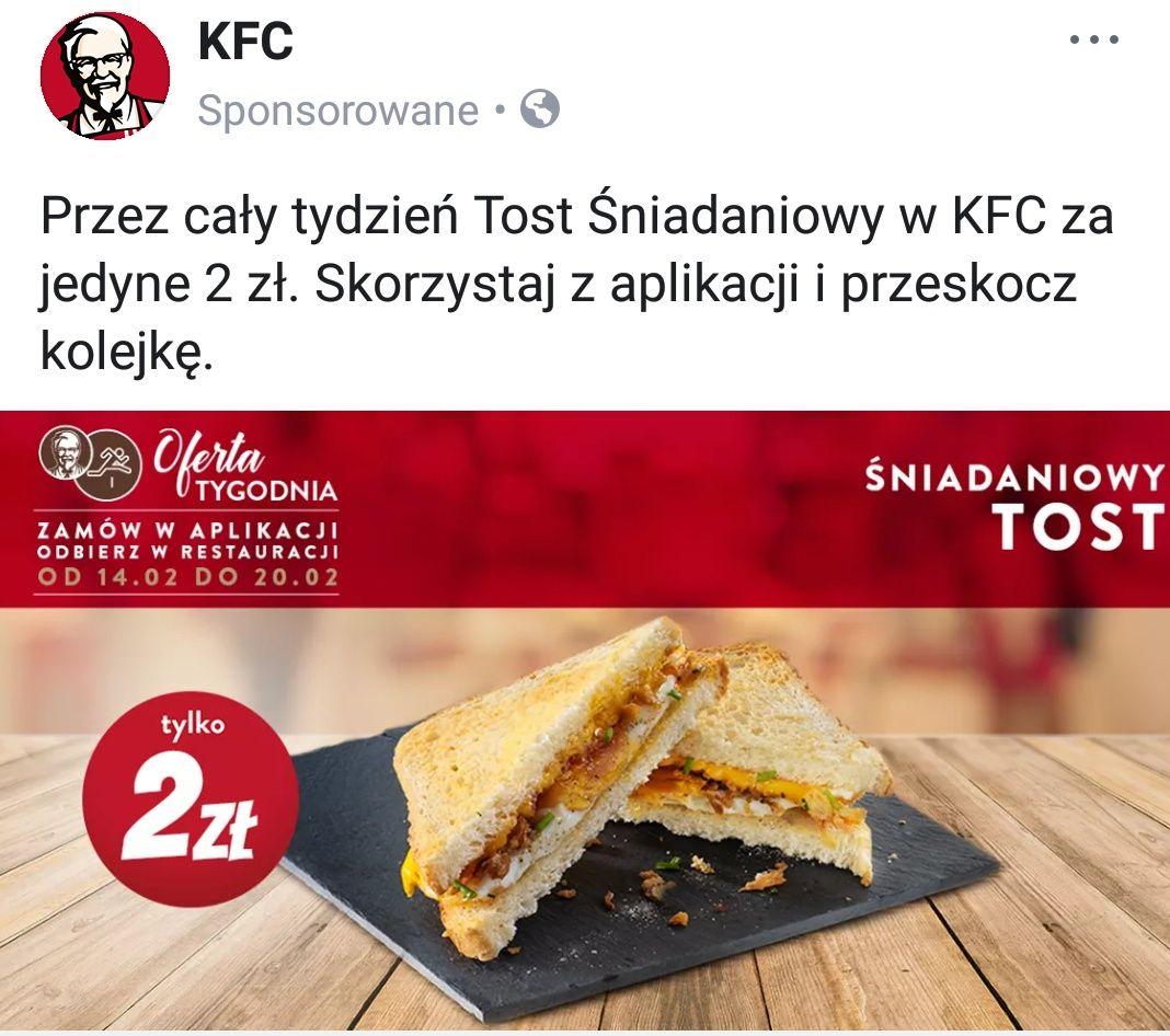 Tost Śniadaniowy w KFC za 2 zł