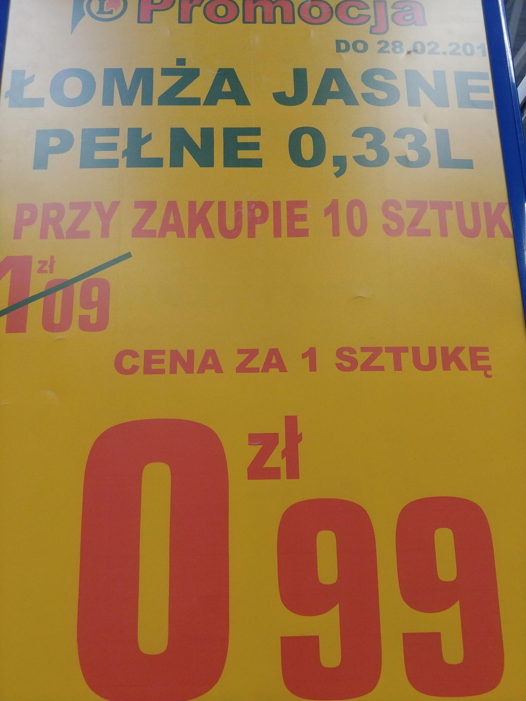 Łomża 0,33l w gdanskim eclerku (cena przy zakupie 10 szt.)