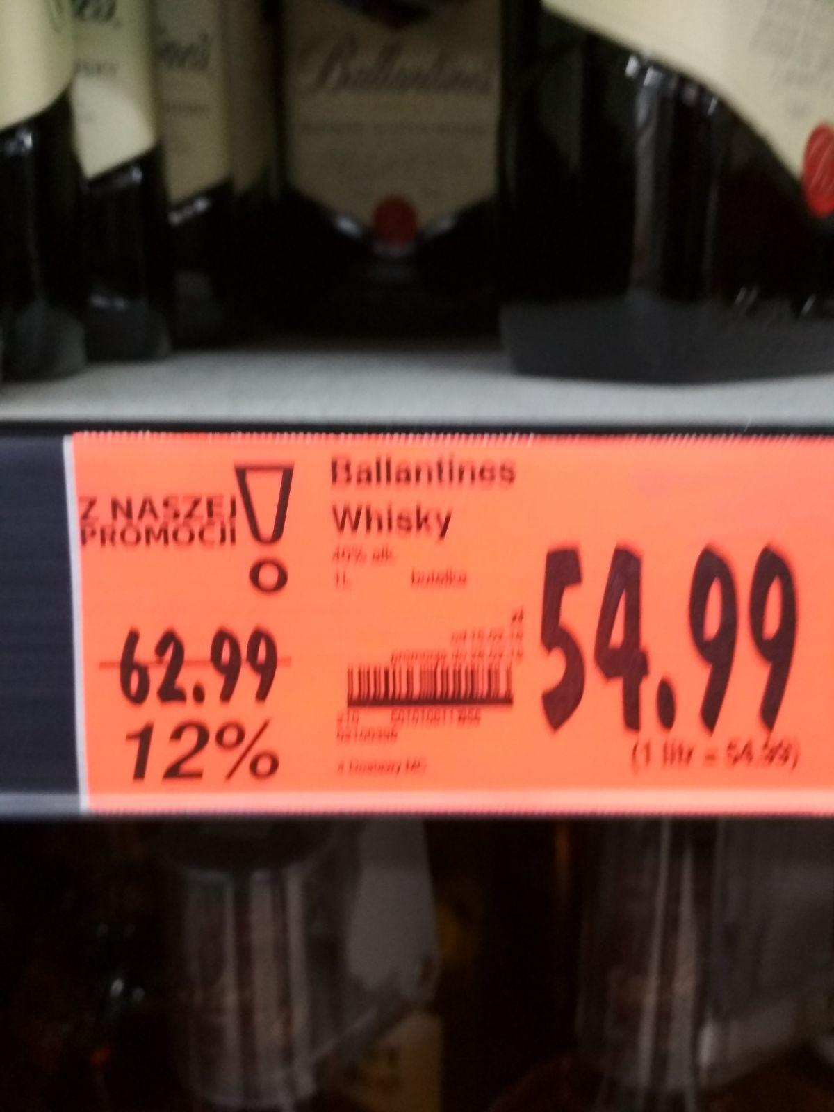 Ballantines 1l w cenie 54,99 zł @ Kaufland