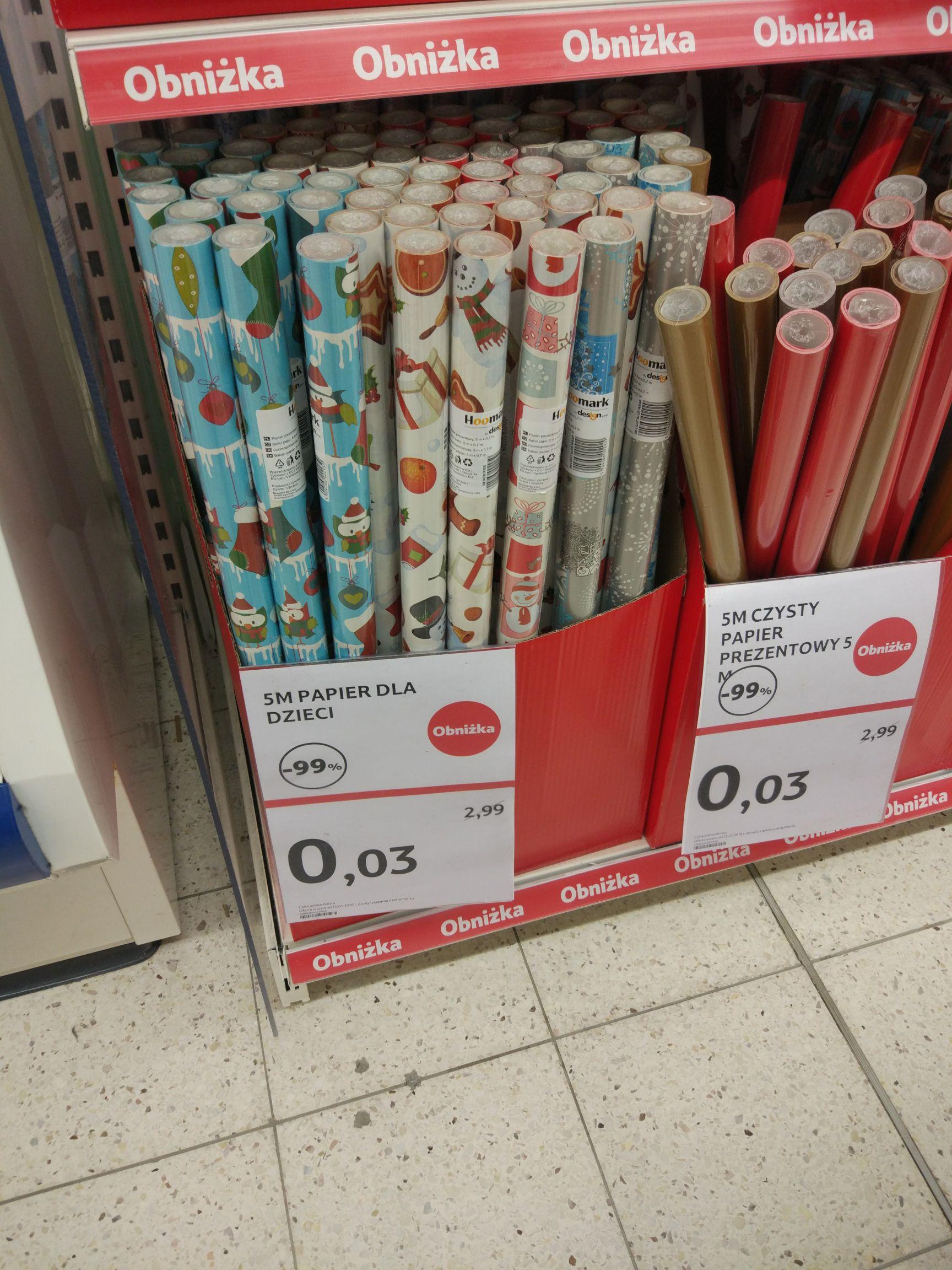 Papier do pakowania prezentów -99% TESCO