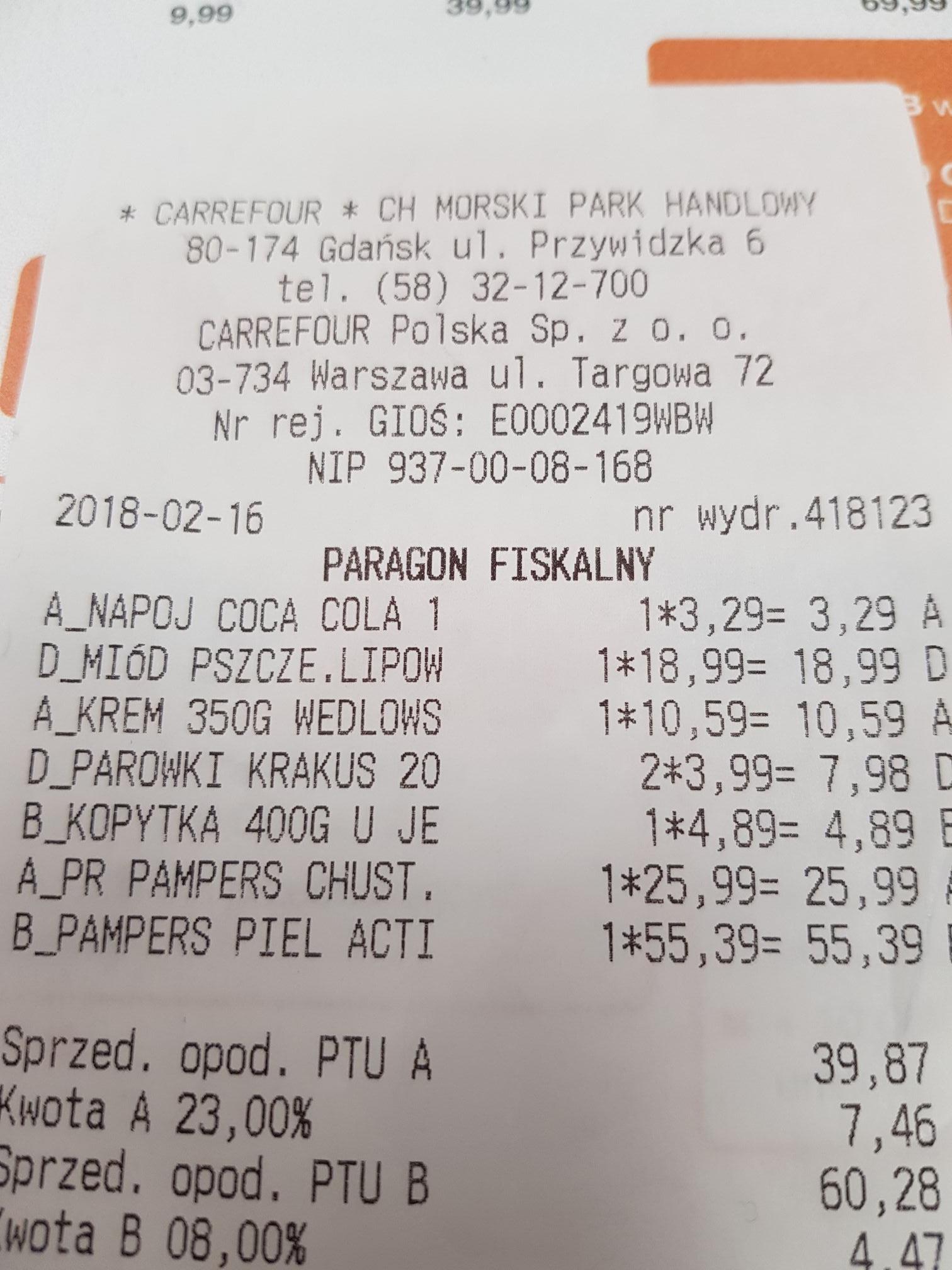 Pampers pieluszki różne rozmiary Carrefour, np 144szt Pampers 2 za 0,38gr szt
