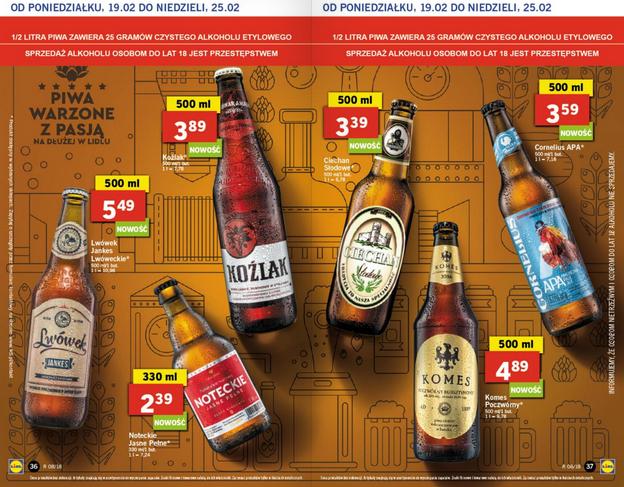 Piwa w Lidlu, m.in. Koźlak 3,89, Komes Poczwórny 4,89 i inne