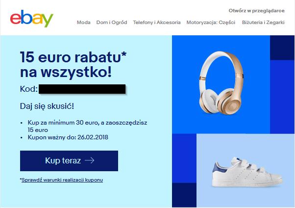 Spawdź@ ebay rozsyła kupony 15€/30€