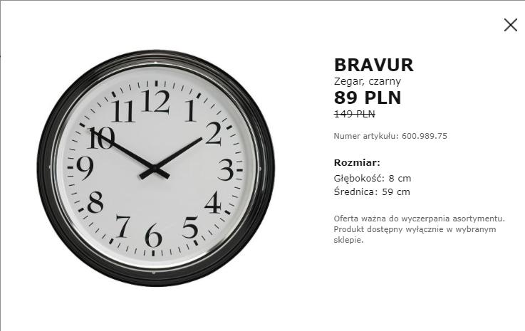 Duży zegar Bravur IKEA (Janki)