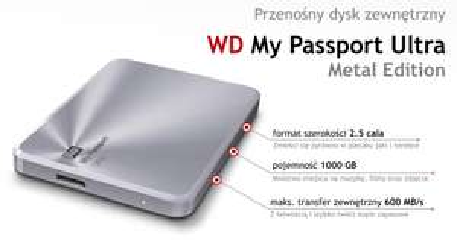 Dysk zewnętrzny 2,5' WD My Passport Ultra Metal Edition 1TB srebrny za 269zł @ Komputronik