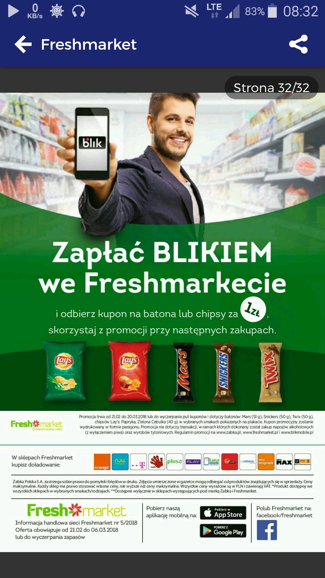 Freshmarket - kupon za płatność BLIKiem