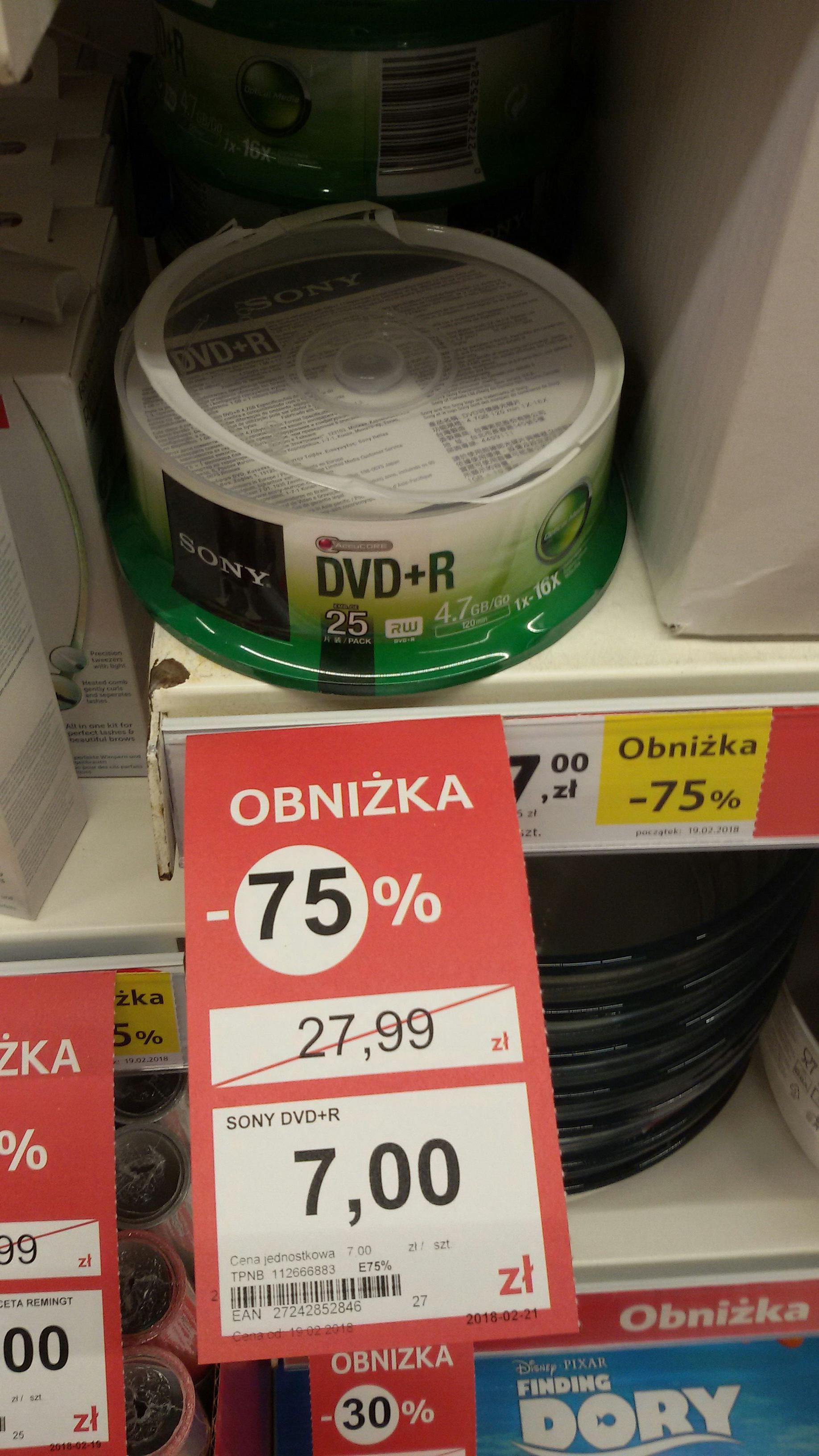 Płyty Sony DVD+R 25szt Tesco Puławy