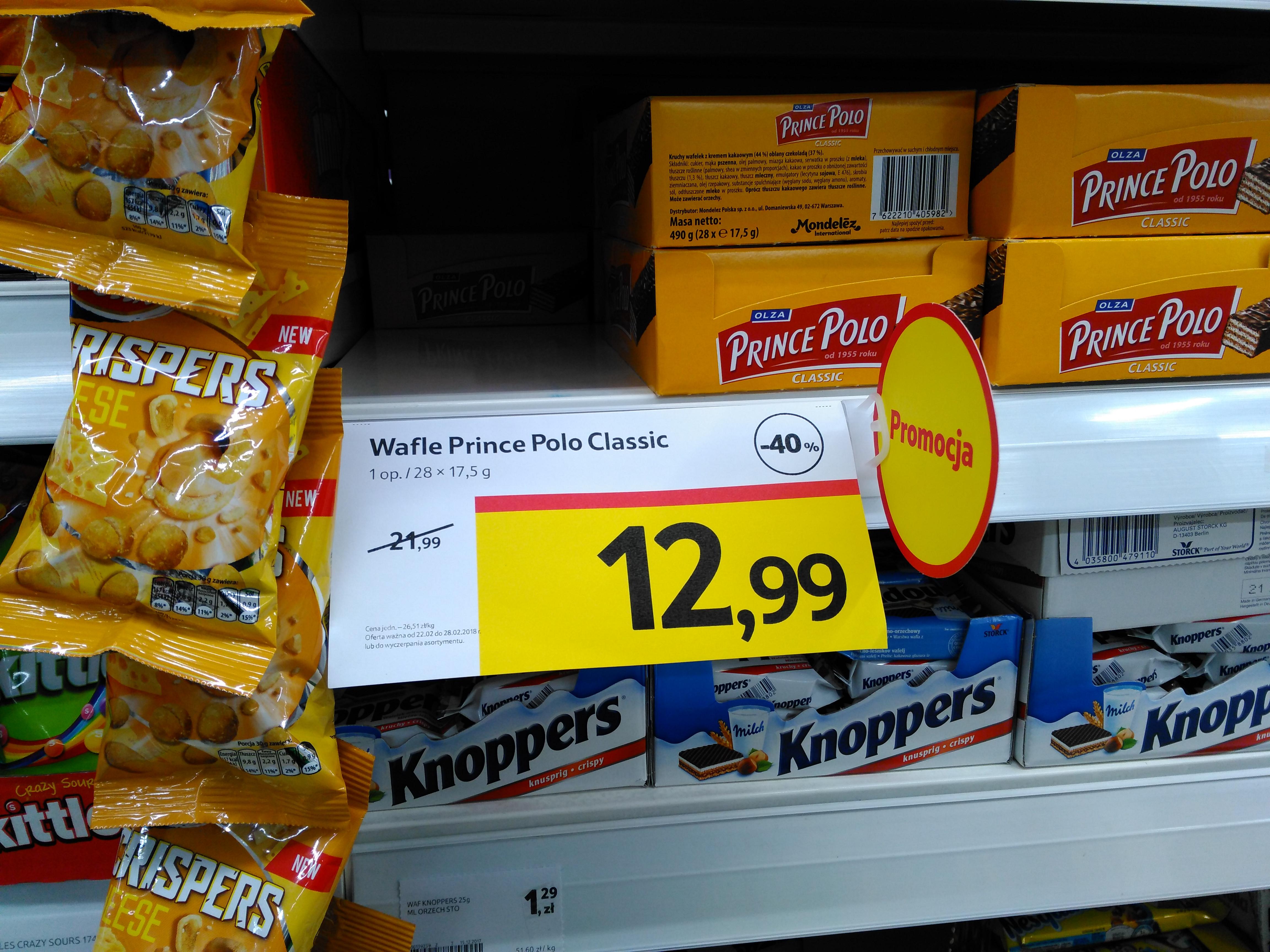 Wafle Prince Polo, całe pudełko 40% taniej w Tesco :))