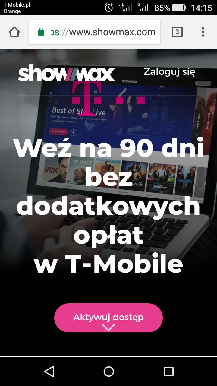 Showmax na 90 dni za darmo w T-Mobile