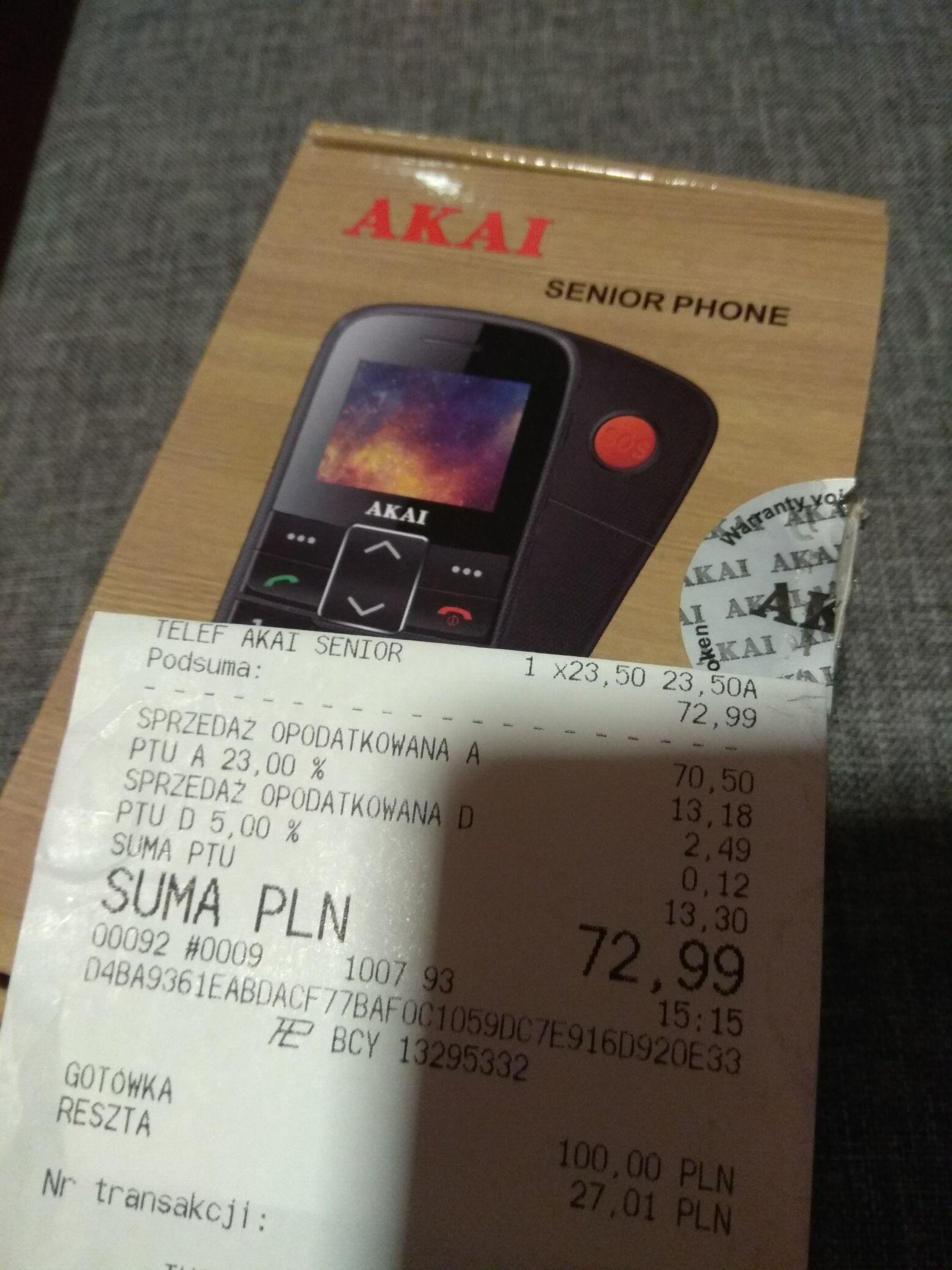 Tesco Gliwice EC Akai telefon dla seniora