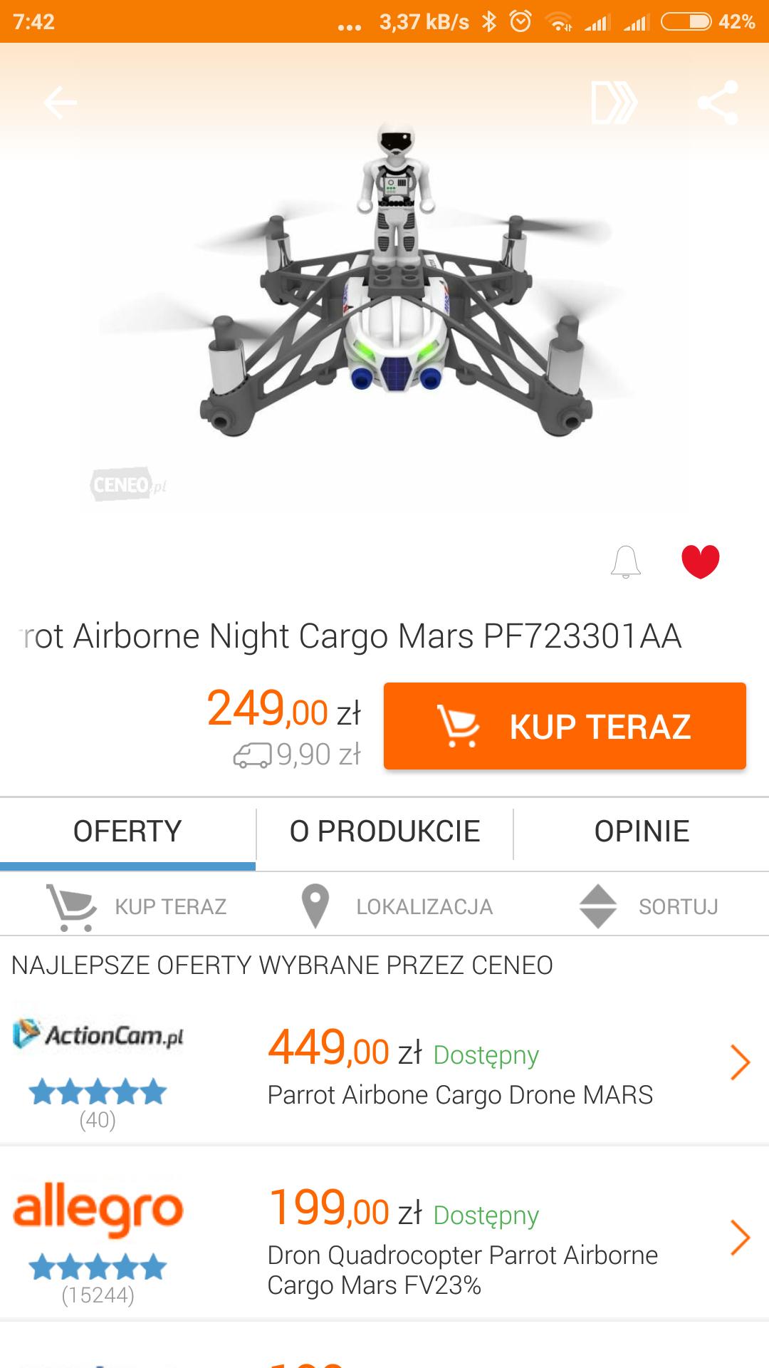 Dron Quadrocopter Parrot Airborne Cargo @ Biedronka Niemce woj. Lubelskie