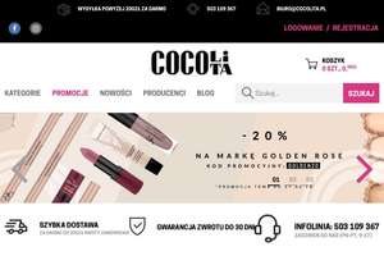 Drogeria internetowa Cocolita 20% rabatu na markę Golden Rose