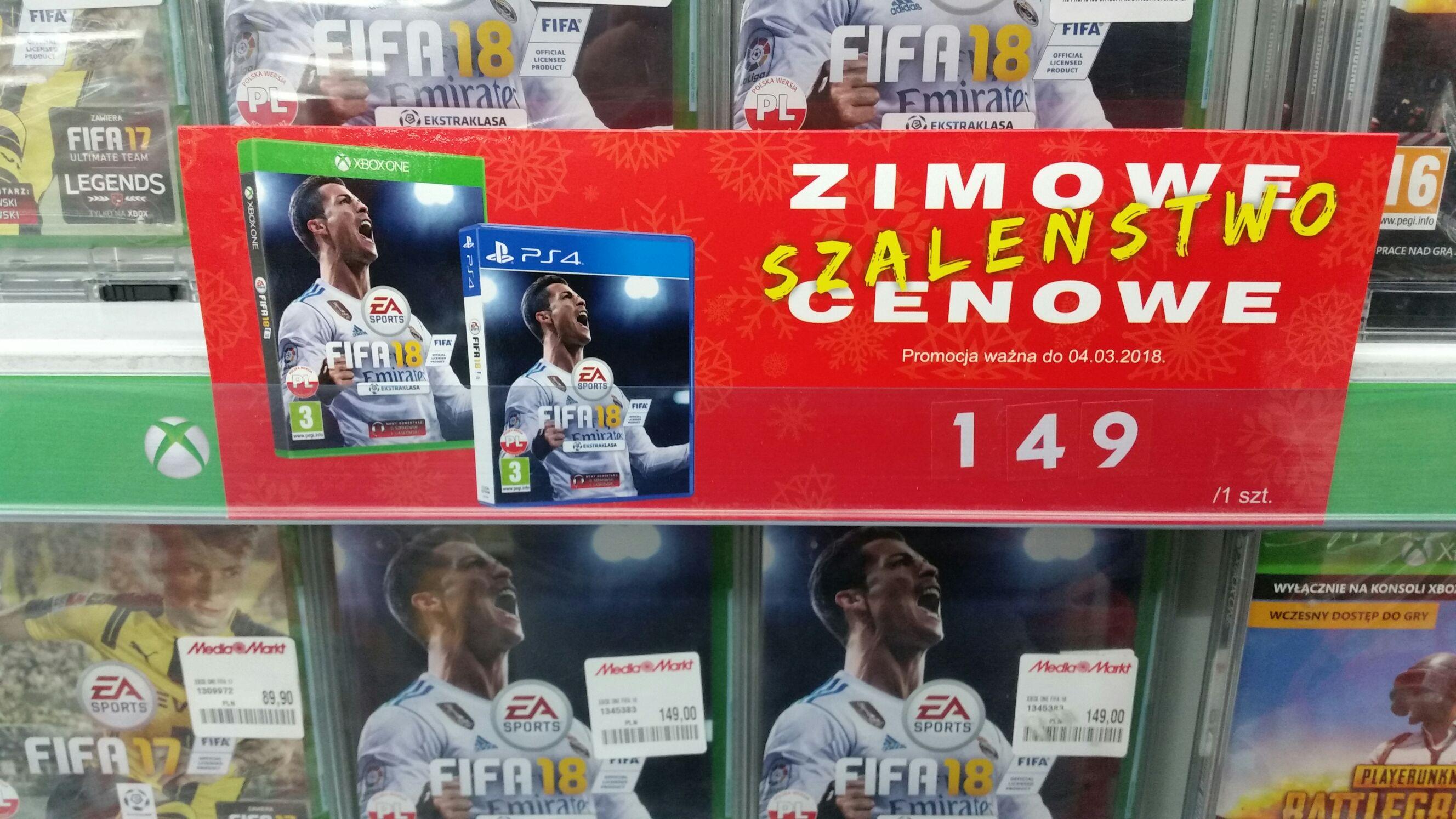 Fifa 18 na Xbox One I PS4 za 149zl w Mediamarkt