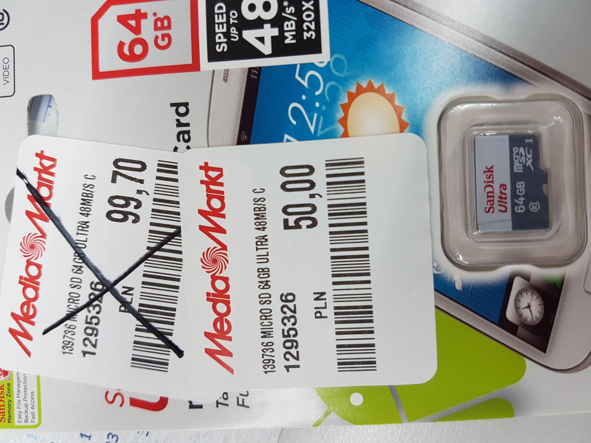 Karta pamięci micro sd  64GB Media Markt Elbląg