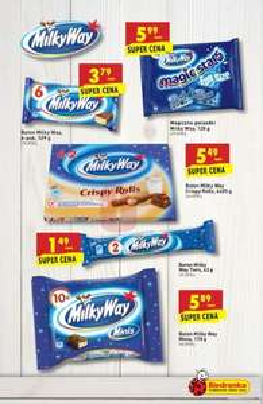 6  sztuk batonow milky way za 0,99gr Biedronka