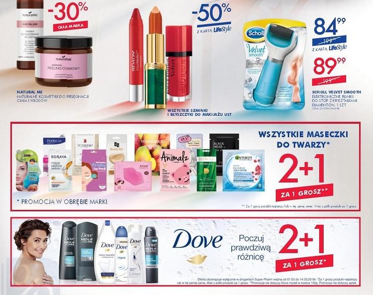-50% na wszystkie szminki i błyszczyki oraz 2+1 na maseczki i markę Dove @ Super-Pharm
