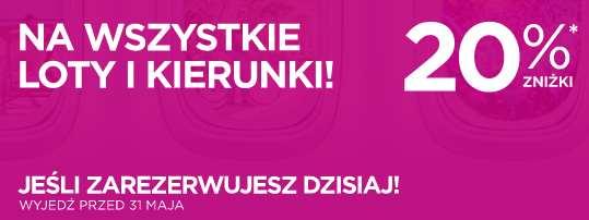 20% zniżki na bilety lotnicze w Wizz Air