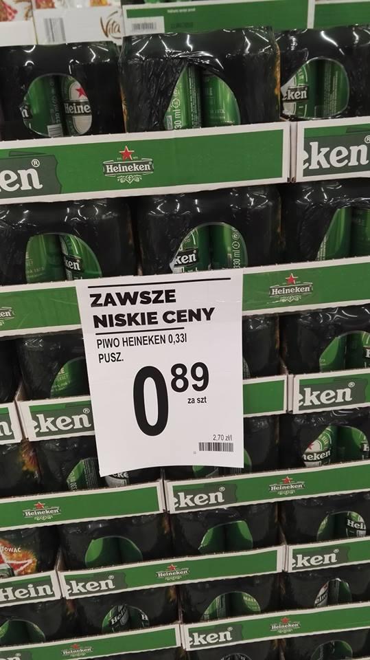 Heineken puszka 0,33l za 89 groszy - Biedronka