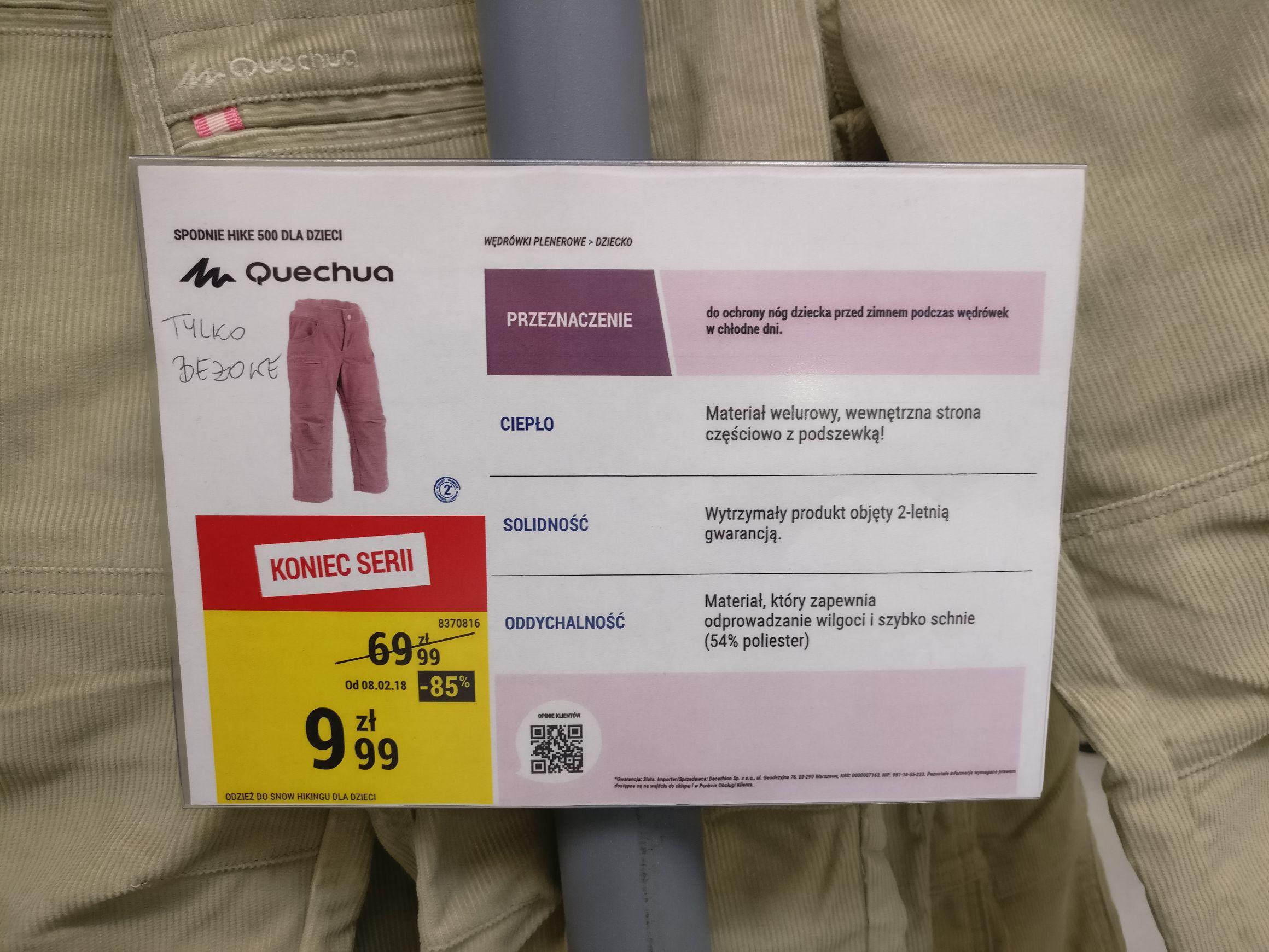 Decathlon, spodnie Hike 500 dla dzieci