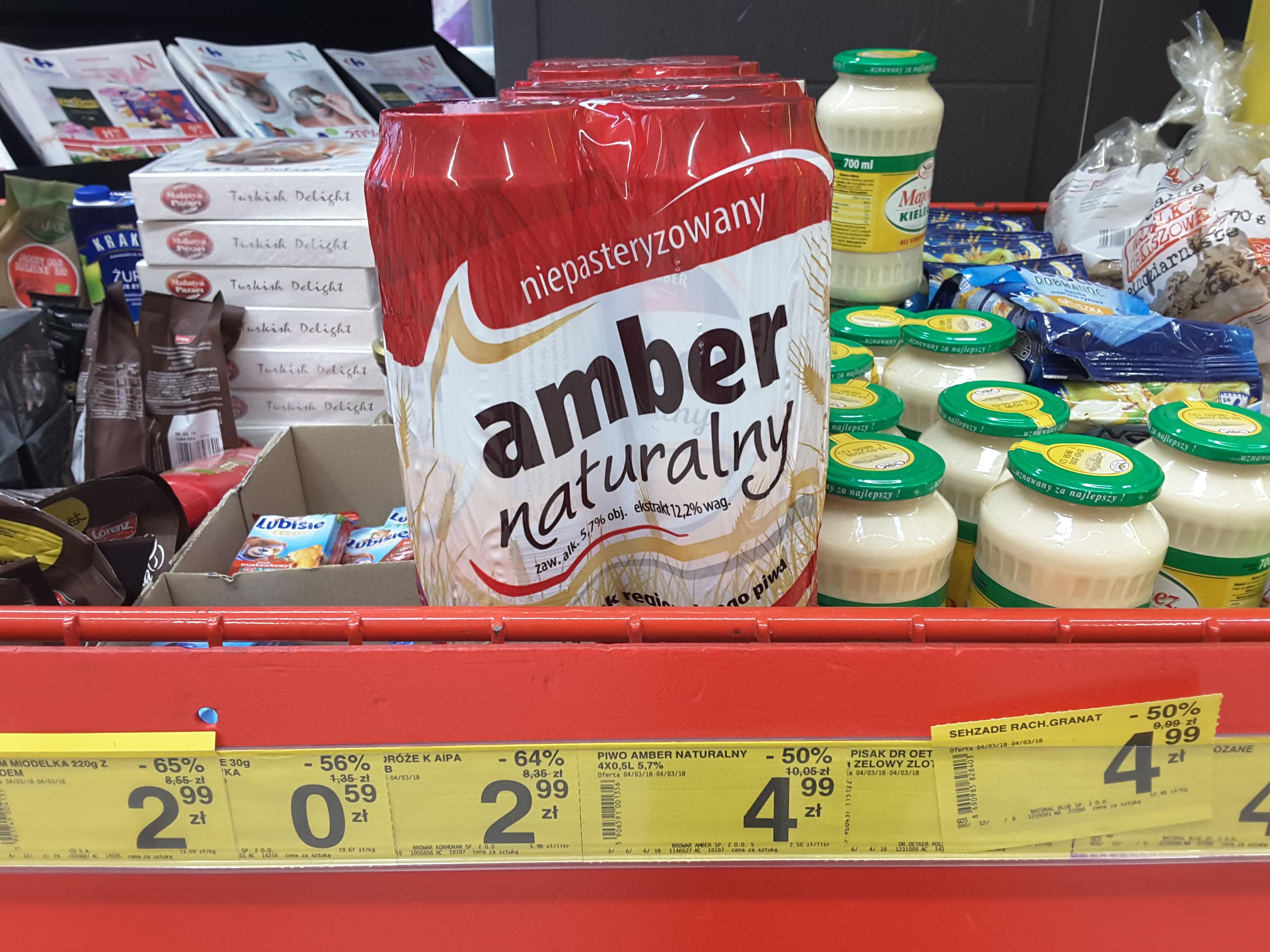 4 pack piwa Amber naturalny, Carrefour