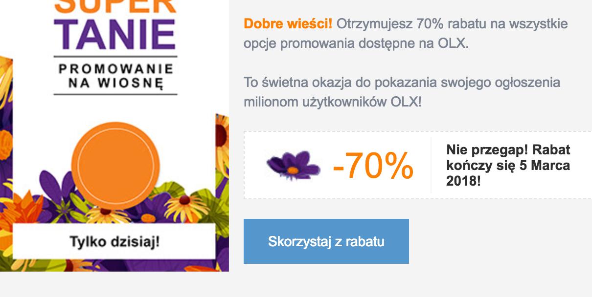 -70% na wszystkie opcje promowania OLX.pl - 5 marca