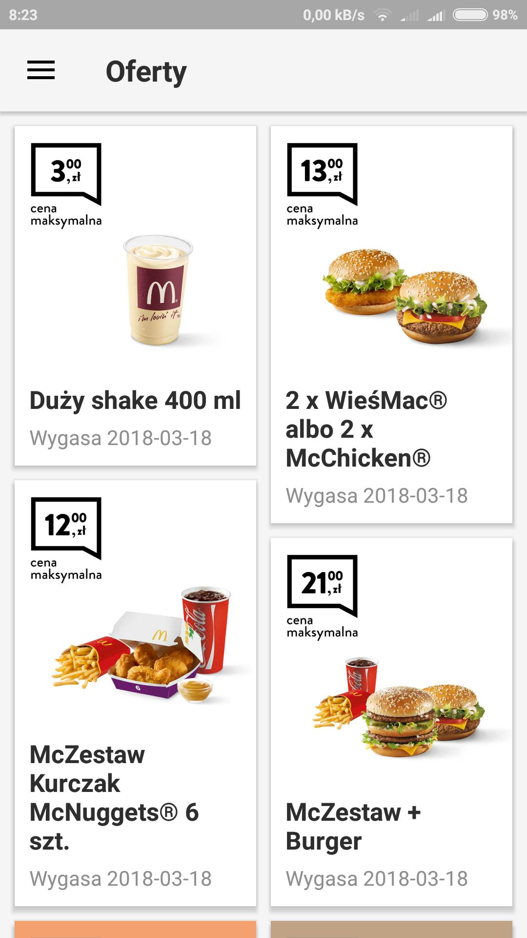 Nowe kupony McDonald's 2x wiesmak 13zl duzy shake 3 zl