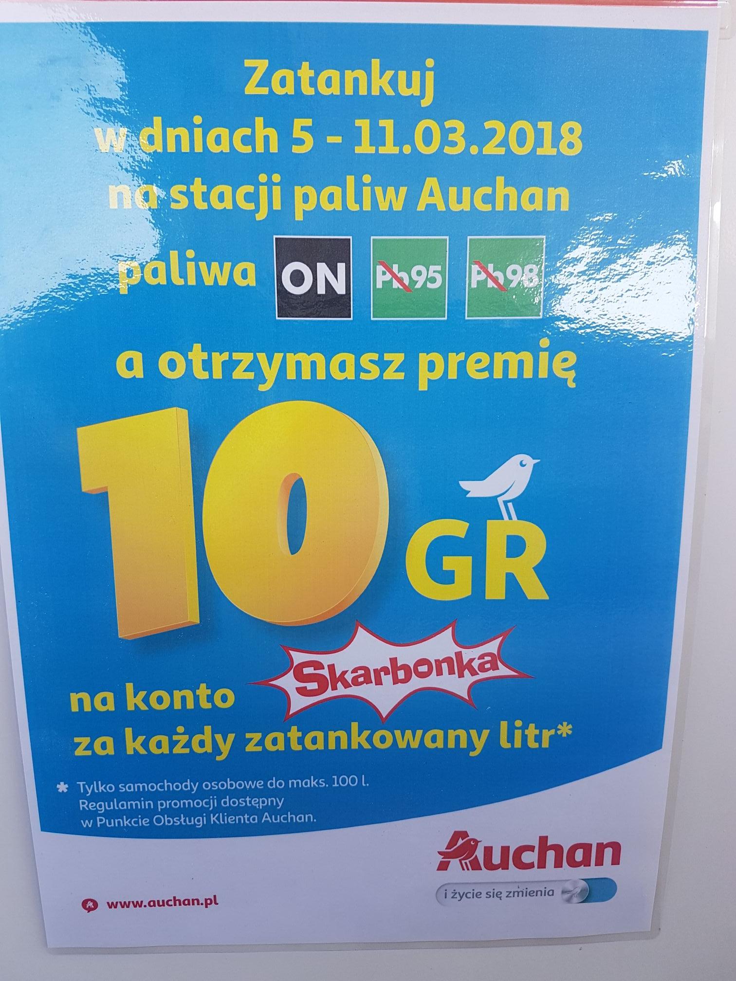 10 groszy za litr na konto Skarbonka przy tankowaniu @ Auchan