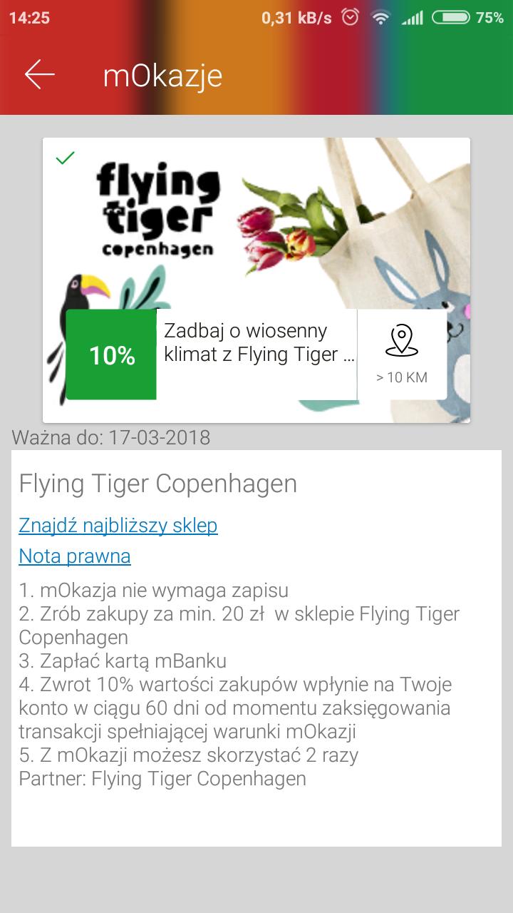 Zwrot 10% za zakupy za min: 20zl z mOkazje @FlyingTiger
