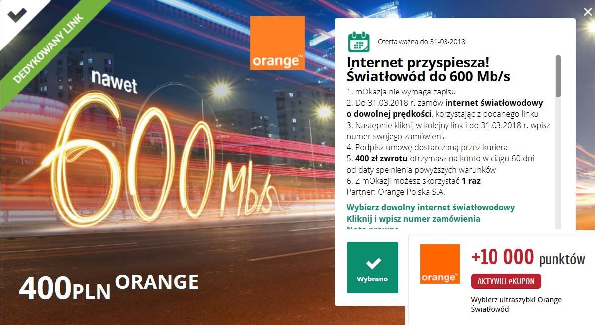 [mBank] 400 zł zwrotu przy zamówieniu Internetu światłowodowego Orange + 10.000 punktów Payback
