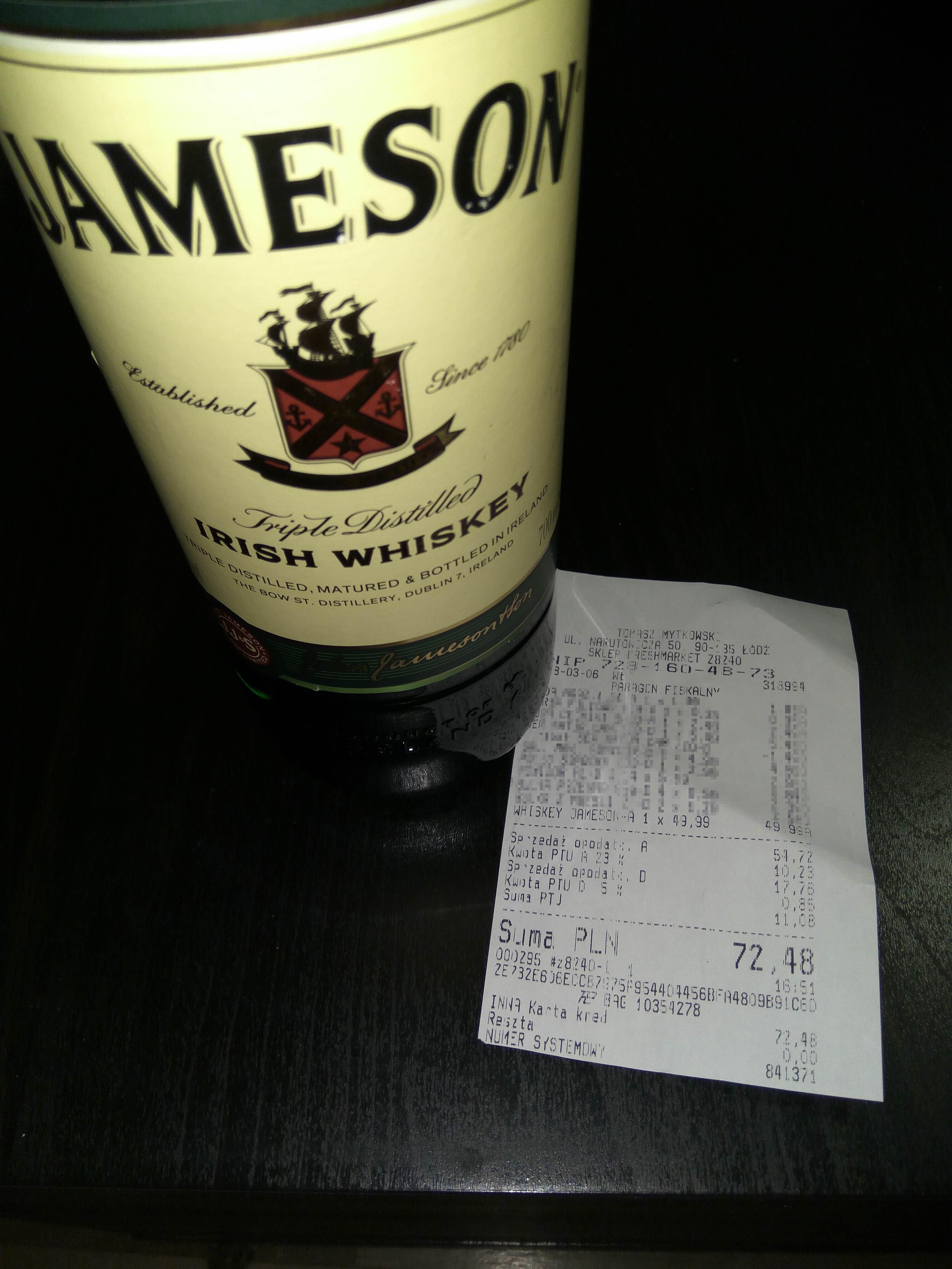 Whisky Jameson 0.7l za 49.99zł w FreshMarket