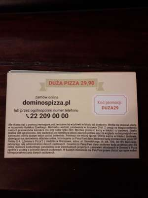 Dominos duza pizza za 29.90