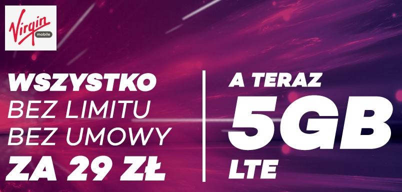 VirginMobile #BEZLIMITU za 29zł aż 5GB Internetu, SMS-y i minuty bez limitu