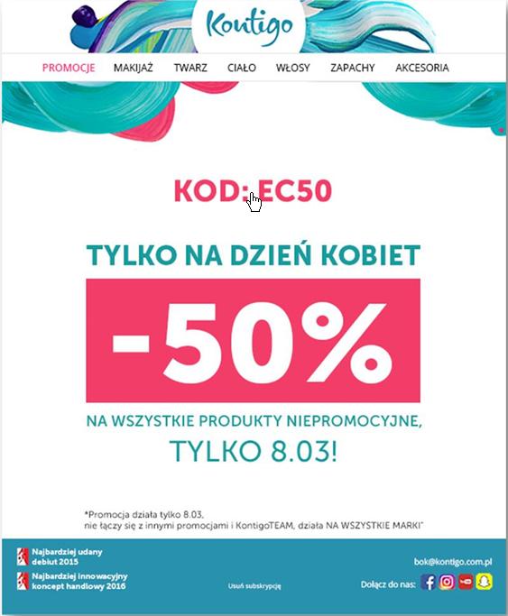 -50% na zakupy w Kontigo.pl tylko na DZIEŃ KOBIET