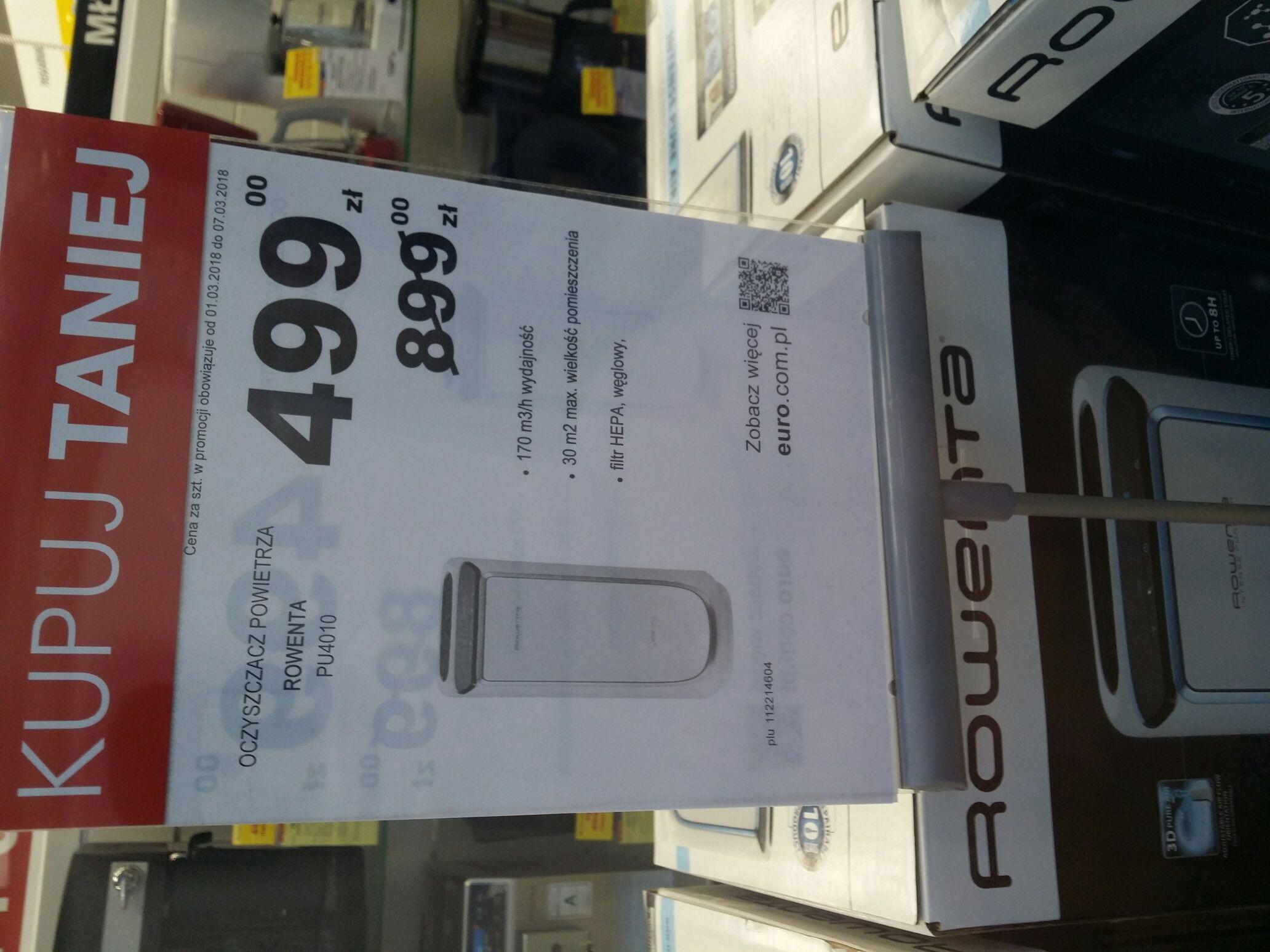 Oczyszczacz powietrza Rowenta PU4010 w Euro Rtv Agd Zawiercie centrum handlowe.