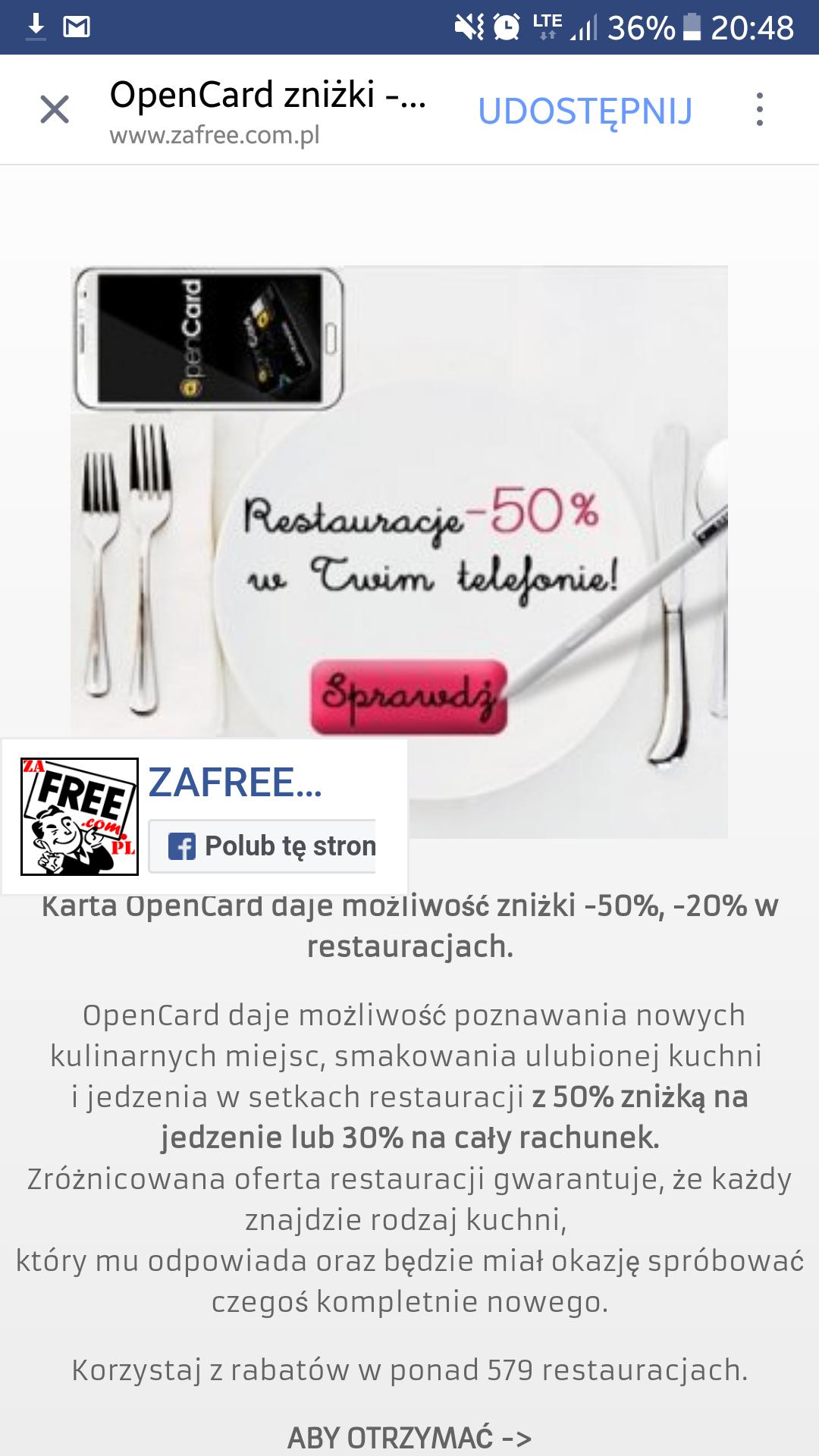 OpenCard zniżki -50% na jedzenie