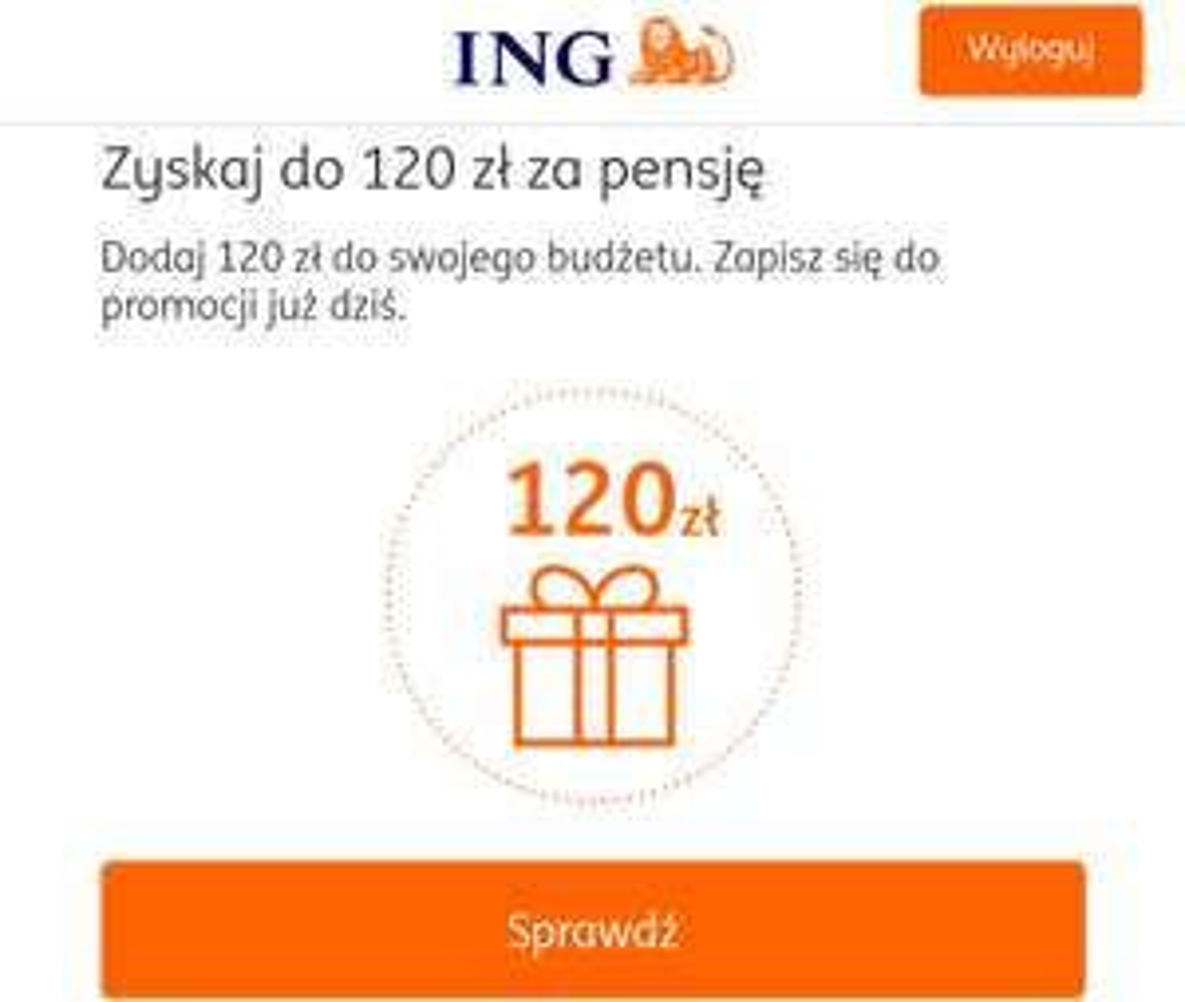 ING Zyskaj do 120 zł za pensję