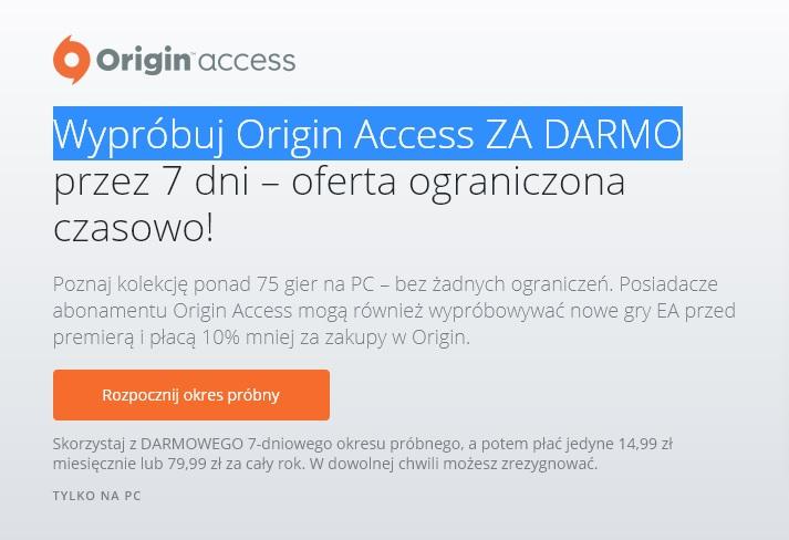 Origin Access ZA DARMO przez 7 dni